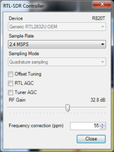 RTL-SDR Settings (PPM corrected)