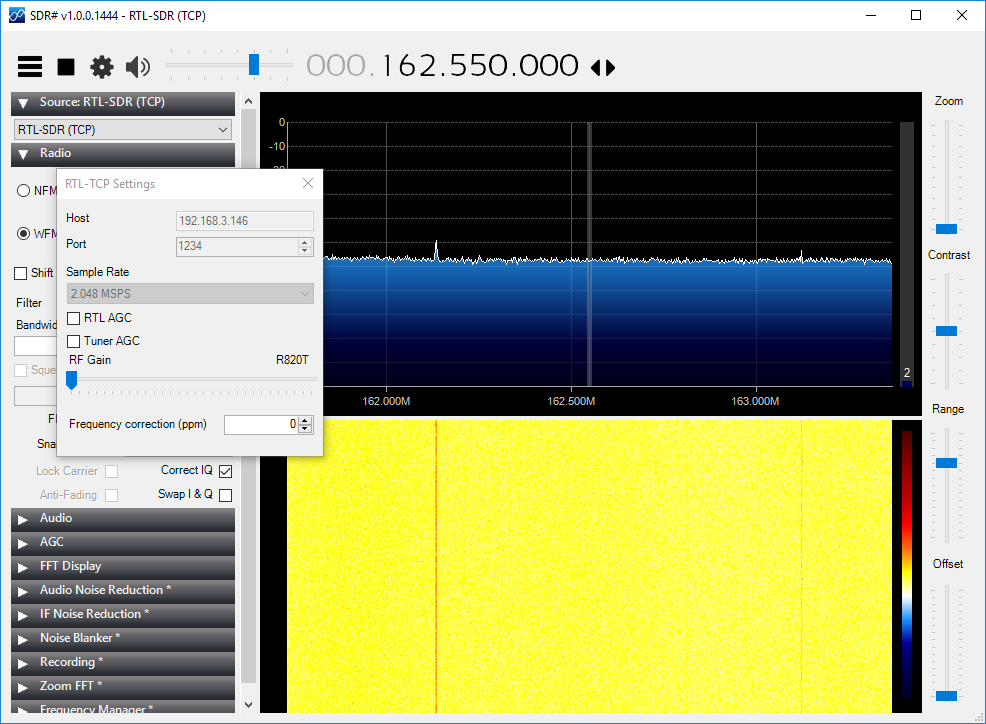 aprs_rx_rtl-sdr_pi_igate-10_testing_configuration-06_windows_sdrsharp_rtl-tcp_connected